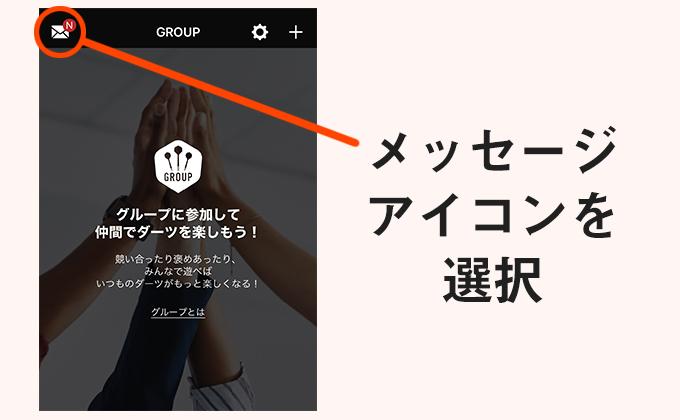 2.グループページに入り、左上のメッセージアイコンを選択